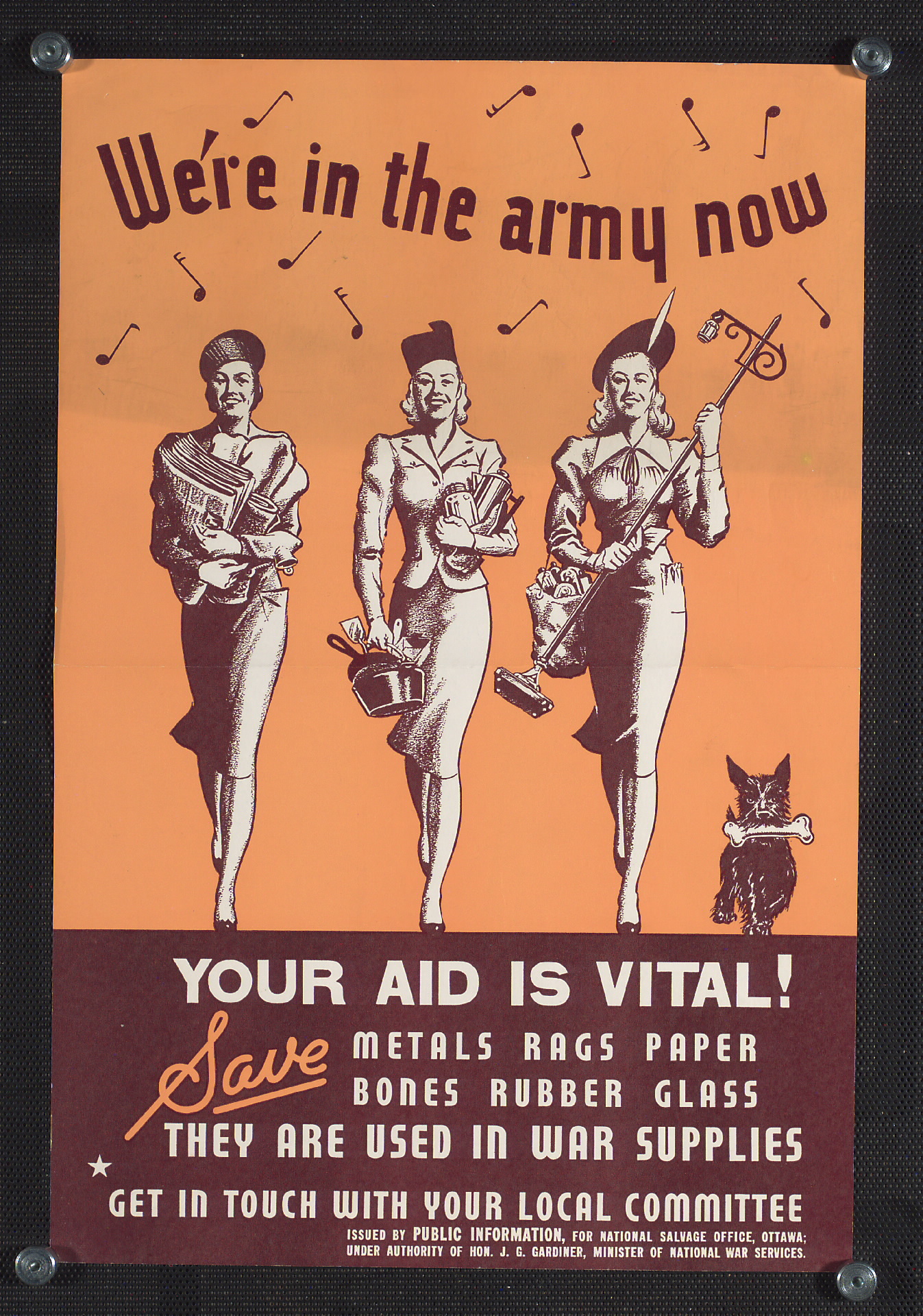 Poster promoting salvage during war. Long description available.
