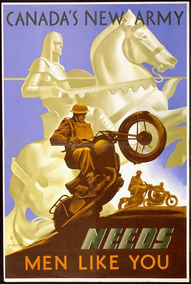 World War II recruitment poster. Long description available.