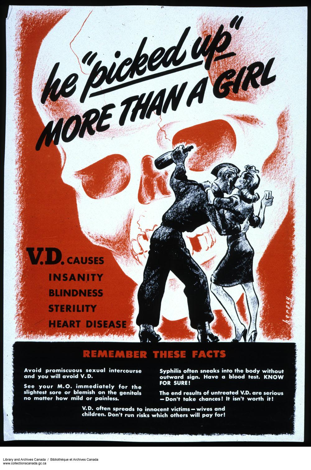 Poster cautioning against V.D. Long description available.