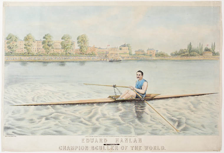 A drawing of a man rowing a one-man boat down a river. In the distance, people gather on the bank.