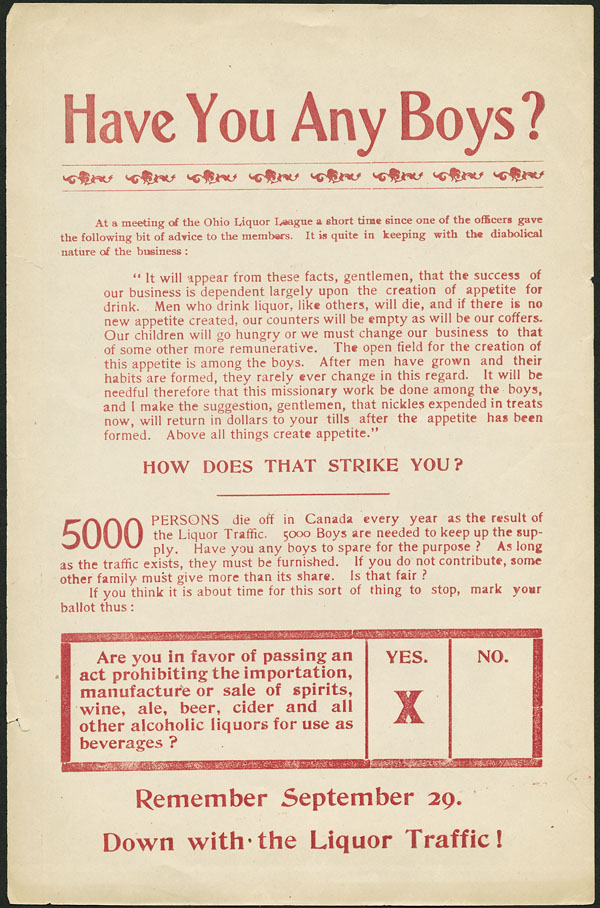 A pamphlet promoting prohibition. Long description available.