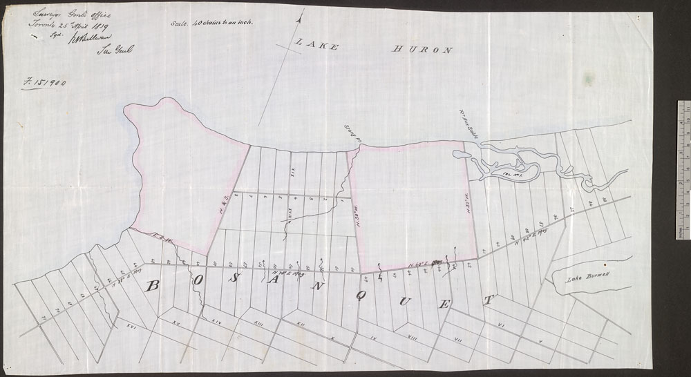 Map of land south of Lake Huron. The land is divided into rectangular parcels.