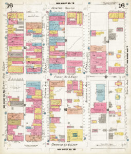 A coloured map of Calgary's buildings.