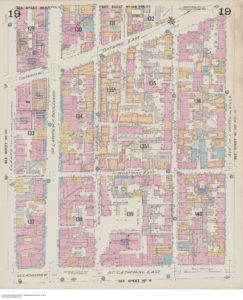 A coloured map of buildings in Montreal.