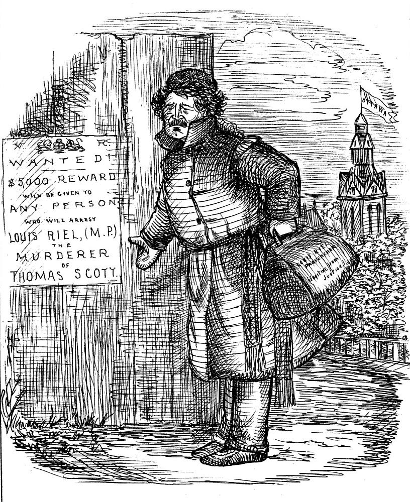 Political cartoon of Louis Riel. Long description available.