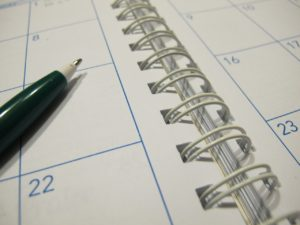 A paper calendar agenda