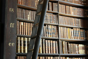 Stacks of books in a library