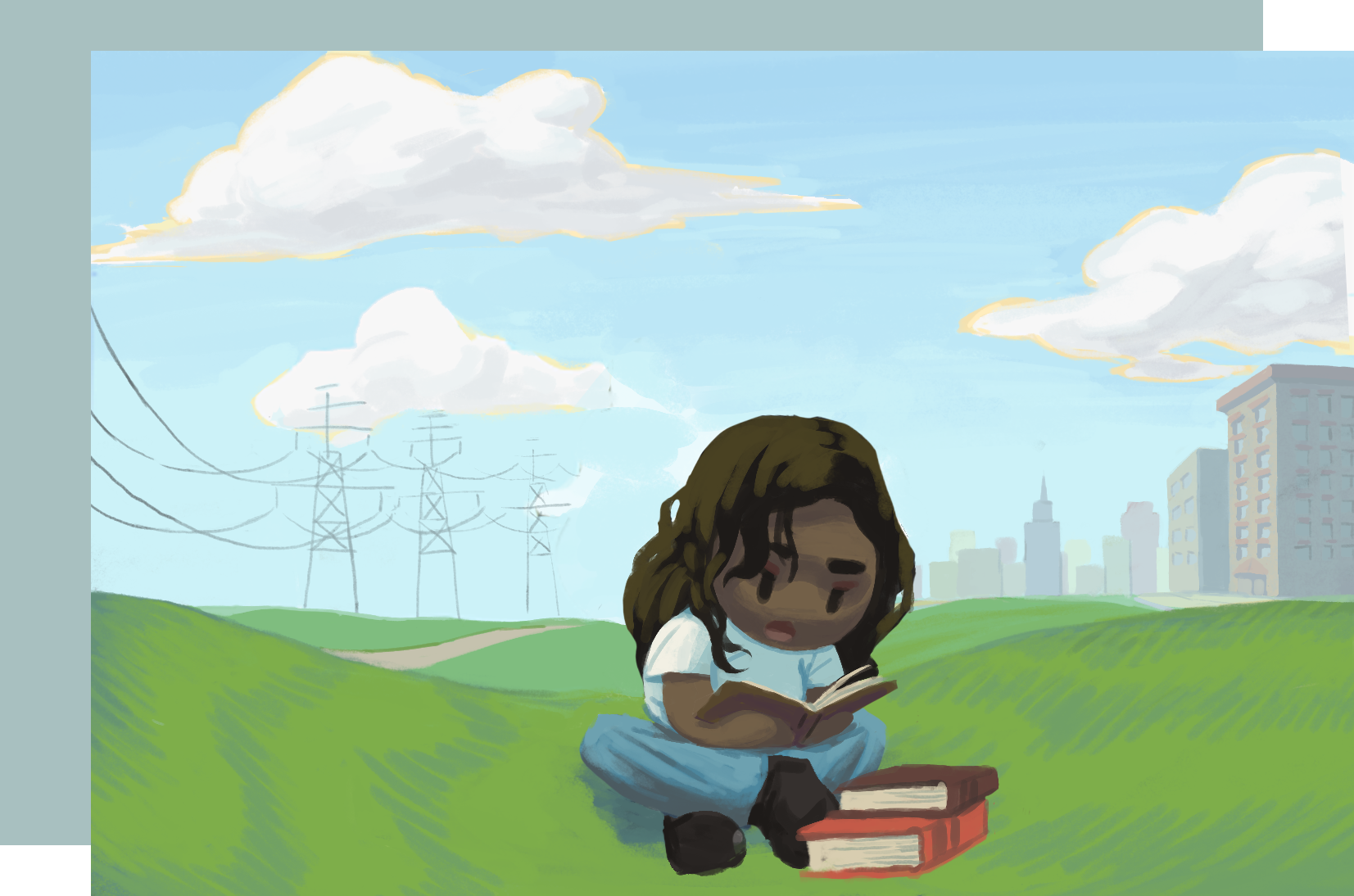 A woman studying with a pile of books outside