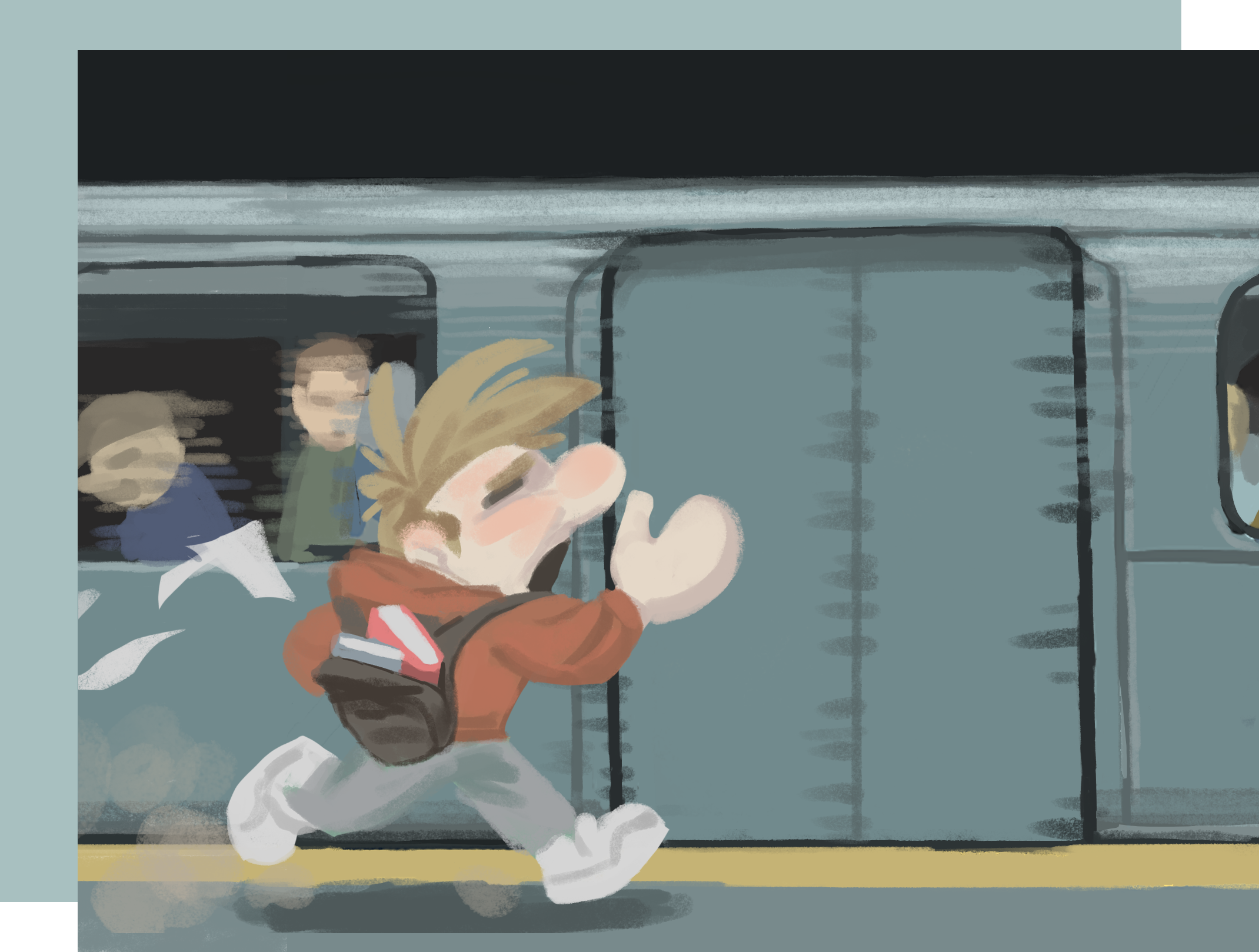 A guy running late to catch the train