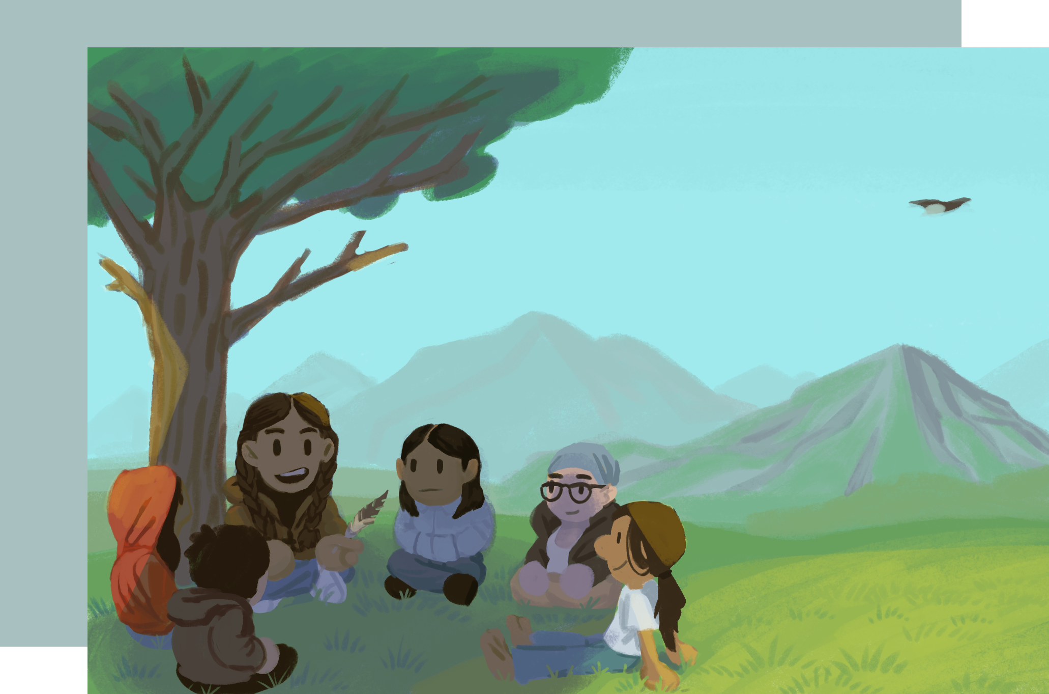 A group of people sit on the ground outside in front of a tree in a circle. The speaker holds a feather