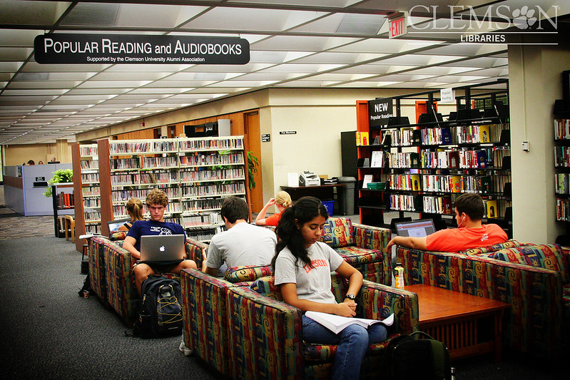 Students sit on couches in the library reading textbooks or on their laptops