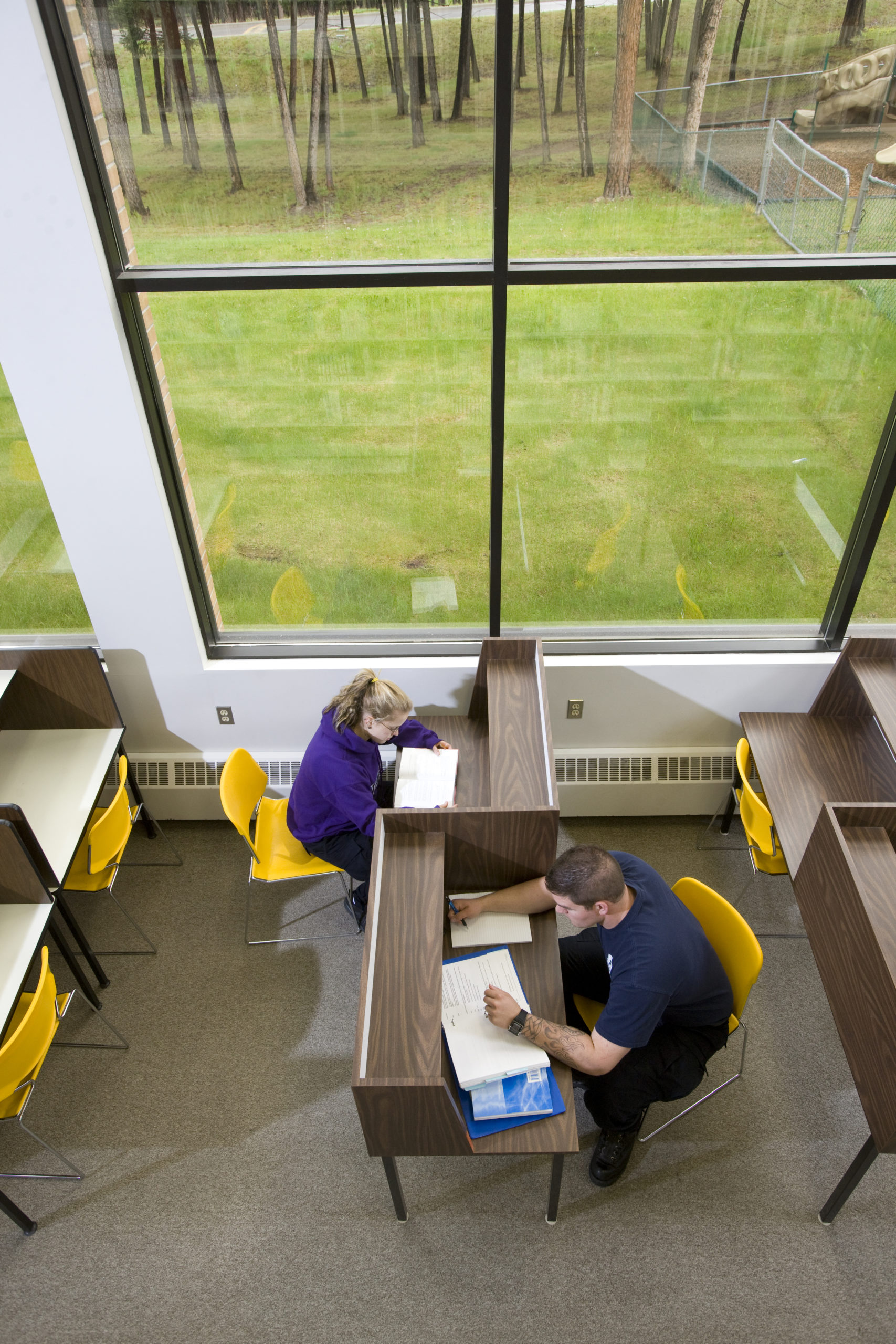 Students study an desks near big windows in the library