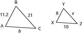 Two triangles are shown. Triangle ABC is on the left. The side across from A is labeled 21, across from B is b, and across from C is 11.2. Triangle XYZ is on the right. The side across from X is labeled x, across from Y is 10, and across from Z is 8.