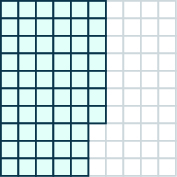 The figure shows a hundred flat with 57 units shaded.