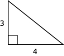 Right triangle with legs labeled as 3 and 4.