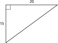 A right triangle is shown. The right angle is marked with a box. One of the sides touching the right angle is labeled as 15, the other as 20.