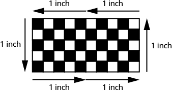 A checkerboard is shown. It has 10 squares across the top and 5 down the side. The top and bottom each have two adjacent 1 inch labels across, the sides have 1 inch labels.