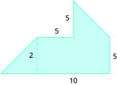 A geometric shape is shown. It is composed of two trapezoids. The base is labeled 10. The height of one trapezoid is 2. The horizontal and vertical sides are all labeled 5.