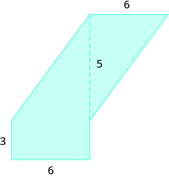 A geometric shape is shown. It is a trapezoid attached to a triangle. The base of the triangle is labeled 6, the height is labeled 5. The height of the trapezoid is 6, one base is 3.