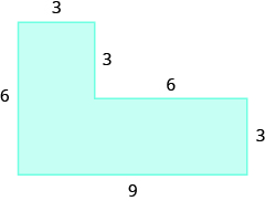 A geometric shape is shown. It is a vertical rectangle attached to a horizontal rectangle. The width of the vertical rectangle is 3, the left side is labeled 6, the bottom is labeled 9, and the width of the horizontal rectangle is labeled 3. The top of the horizontal rectangle is labeled 6, and the distance from the top of that rectangle to the top of the other rectangle is labeled 3.