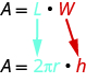 The top line says A equals l times red w. Below the l is 2 times pi times r. Below the w is a red h.