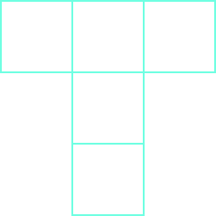 Five squares are shown, in a T-shape. There are three squares across the top and three squares down.