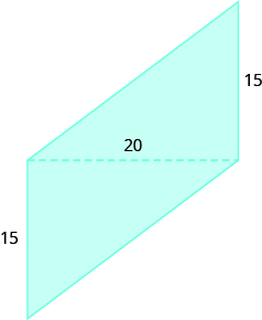 A geometric shape is shown. It is formed by two triangles. The shared base of the two triangles is labeled 20. The height of each triangle is labeled 15.