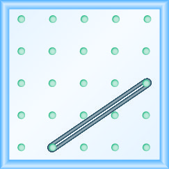 The figure shows a grid of evenly spaced pegs. There are 5 columns and 5 rows of pegs. A rubber band is stretched between the peg in column 2, row 5 and the peg in column 5, row 3, forming a line.