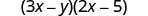 The product of two binomials, 3 x minus y and 2 x minus 5.
