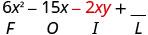 6x squared minus 15x minus 2xy plus blank. Beneath minus 2 x y is the letter I.