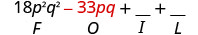18 p squared q squared minus 33 p q plus blank plus blank. Beneath minus 33 p q is the letter O.