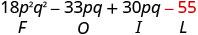 18 p squared q squared minus 33 p q plus 30 p q minus 55. Beneath minus 55 is the letter L.