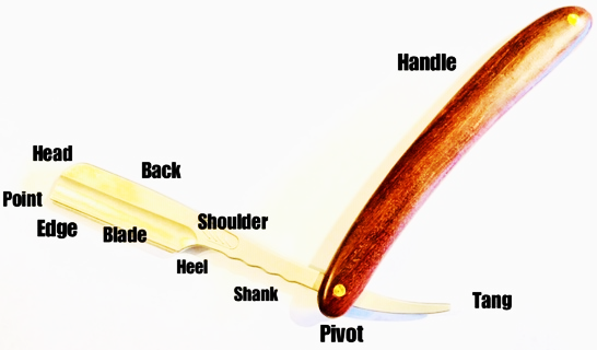 The components of a straight razor include handle, tang, bivot, shank, heel, blade, edge, point, head, back, and shoulder.
