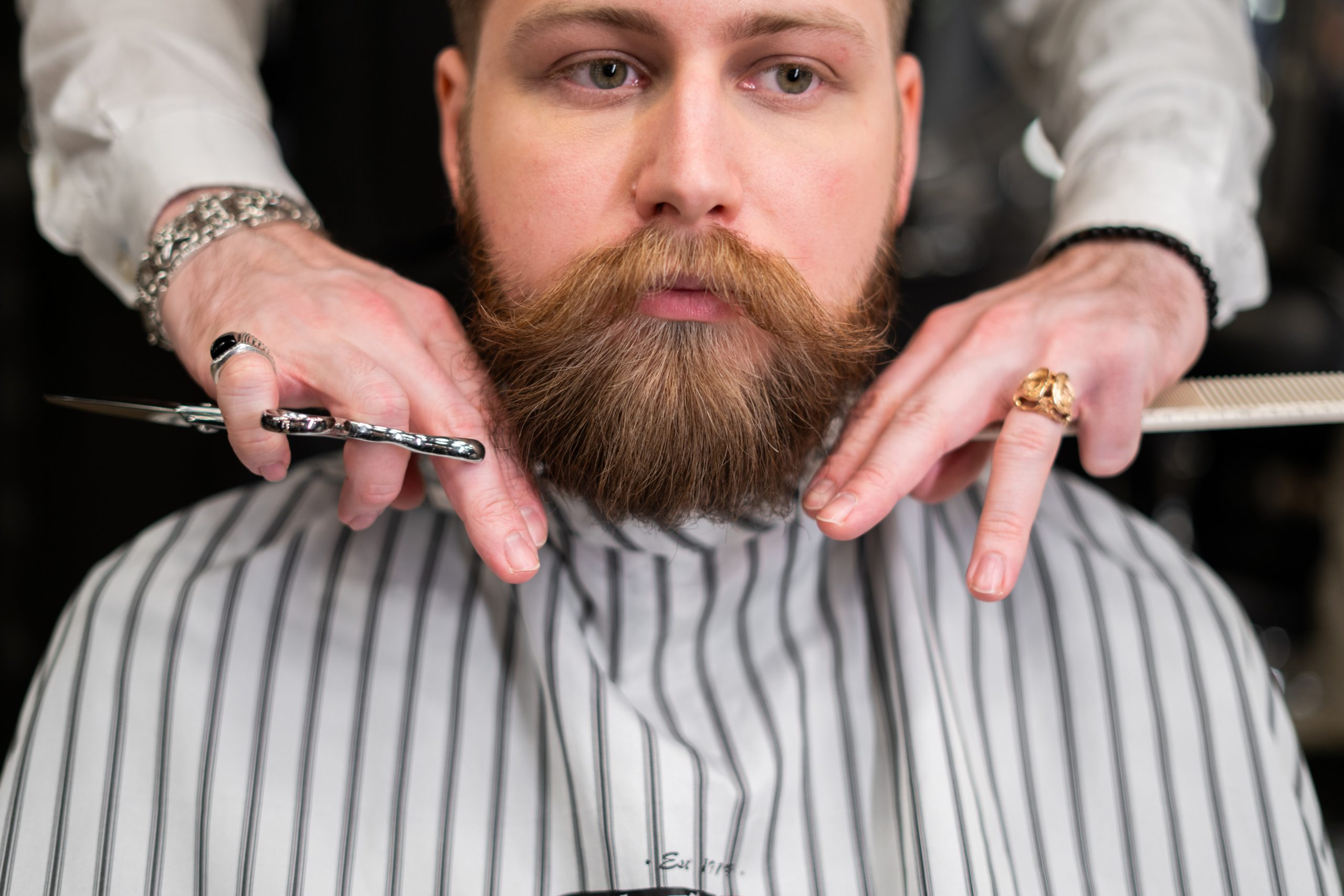 image of man in barber chair