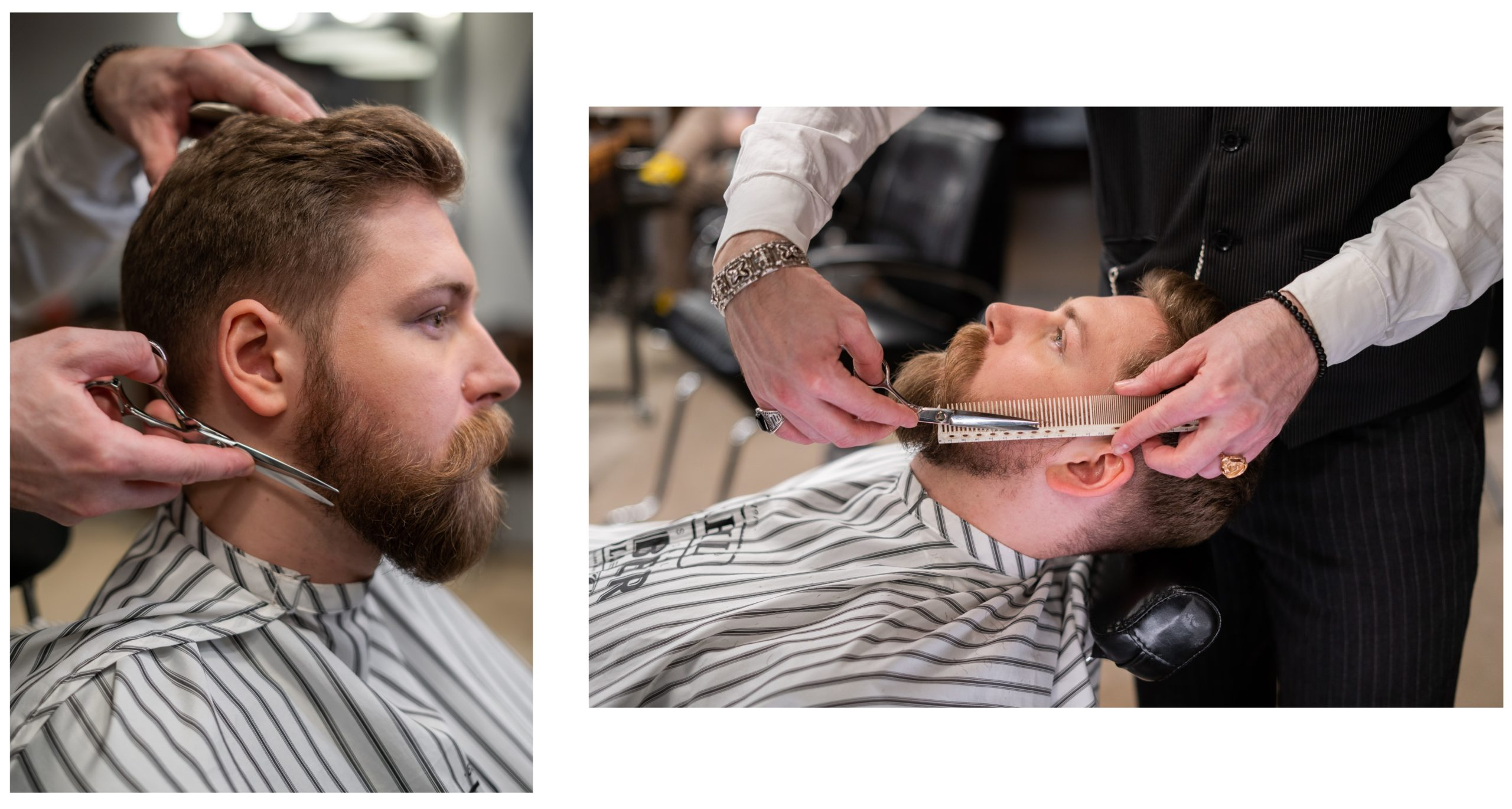 Shears and a comb are used to trim the sides of a client's beard.