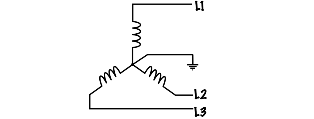 A circuit diagram with three lines connected in Wye configuration.