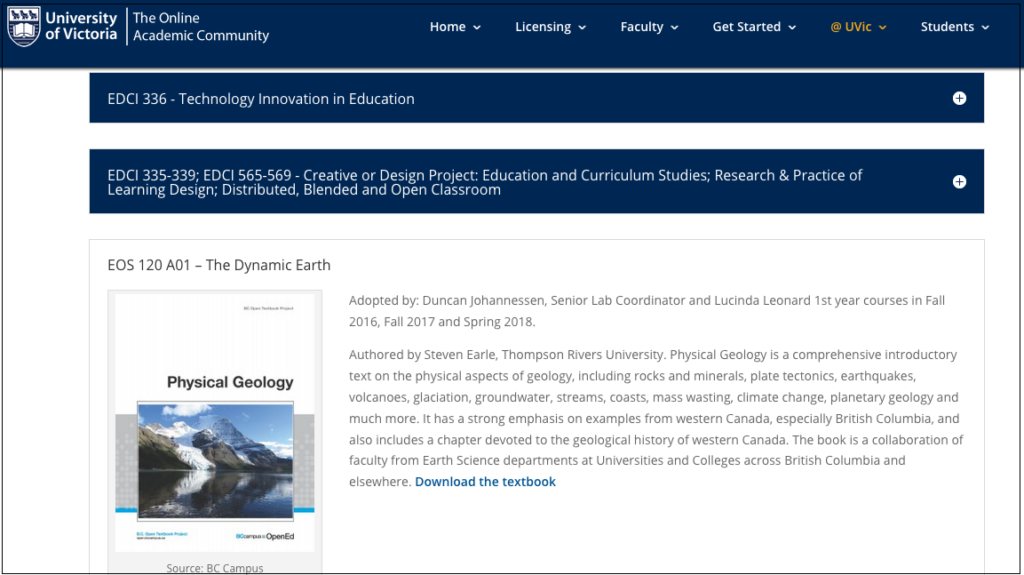 Webpage listing UVic courses and the open textbooks they have adopted.