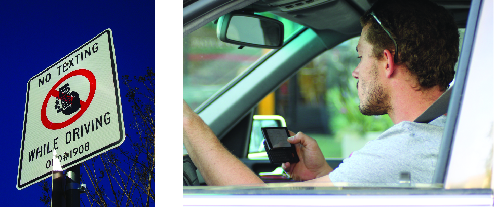 """On the left is an image of a sign that reads """"No texting while driving"""". On the right is an image of a person in the driver's seat of a vehicle. The person is holding a phone in their hand and looking at it."""