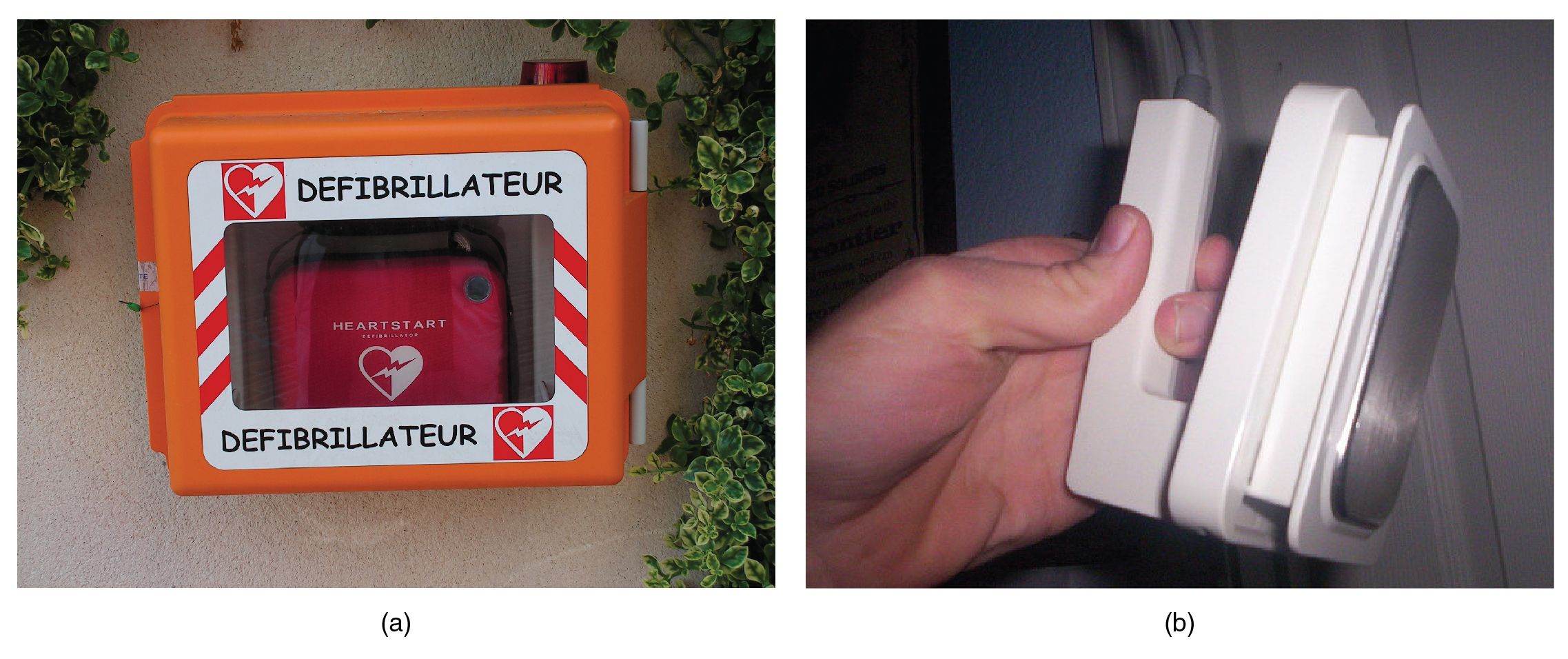 In this figure two photographs of defibrillators are shown.