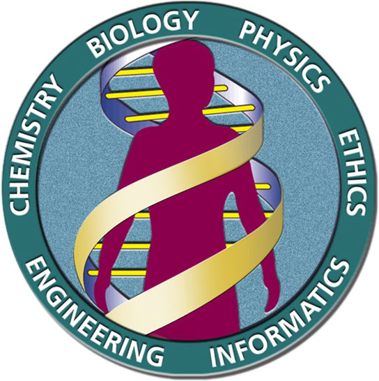 The human genome projects logo is shown, depicting a human being inside a D N A double helix. The words chemistry, biology, physics, ethics, informatics, and engineering surround the circular image.