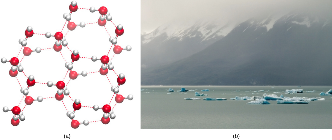Ice floes float on ocean water near a mountain range that rises out of the water.  The molecular structure shows the molecules are arranged in a hexagon, and are bonded to other hexagonal arrangements with a good deal of space between them.
