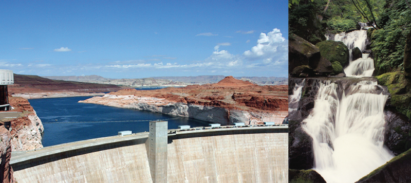 The photo on the left shows a river that is blocked by a giant cement wall, called a dam. The photo on the right shows a waterfall.