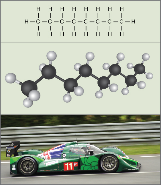 The molecular formula of octane (top), which is a chain of eight carbons and eighteen hydrogens, fuels a racecar speeding along a track (bottom).