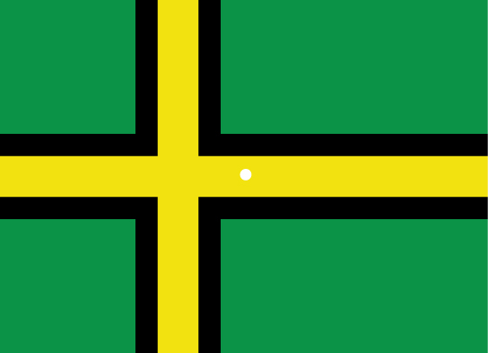 A Norwegian flag is shown in false colors of green, yellow and black (normally, the colors are red, white and blue, like the American flag.