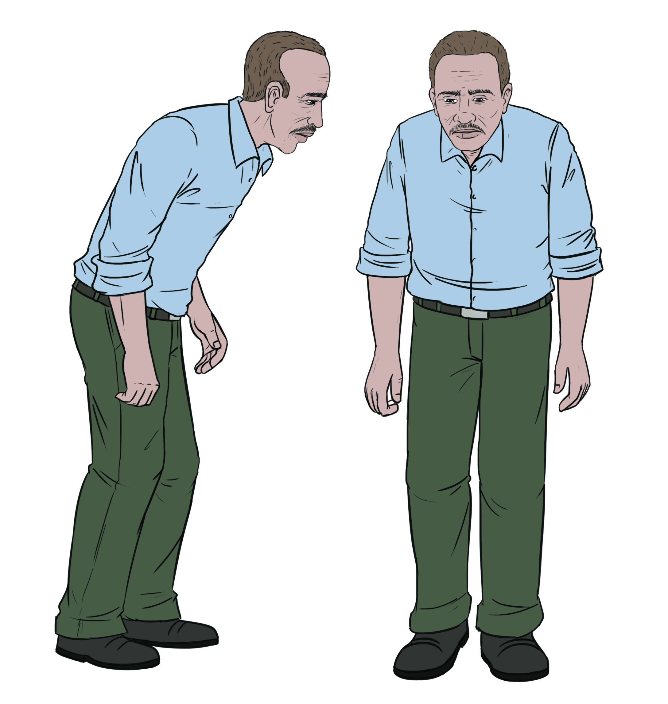 Illustration shows a hunched man with stiff arms and a shuffling walk.