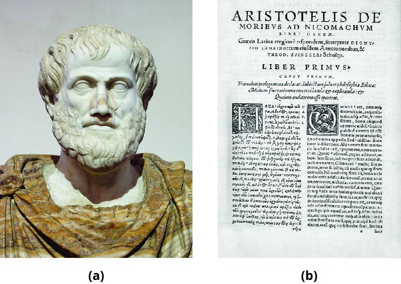 Part A is a statue depicting Aristotle. Part B shows a print copy of Aristotle's Nicomachean Ethics.
