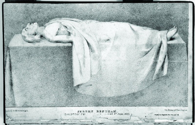 A drawing depicting Jeremy Bentham's corpse laid out on a table and mostly covered by a sheet.