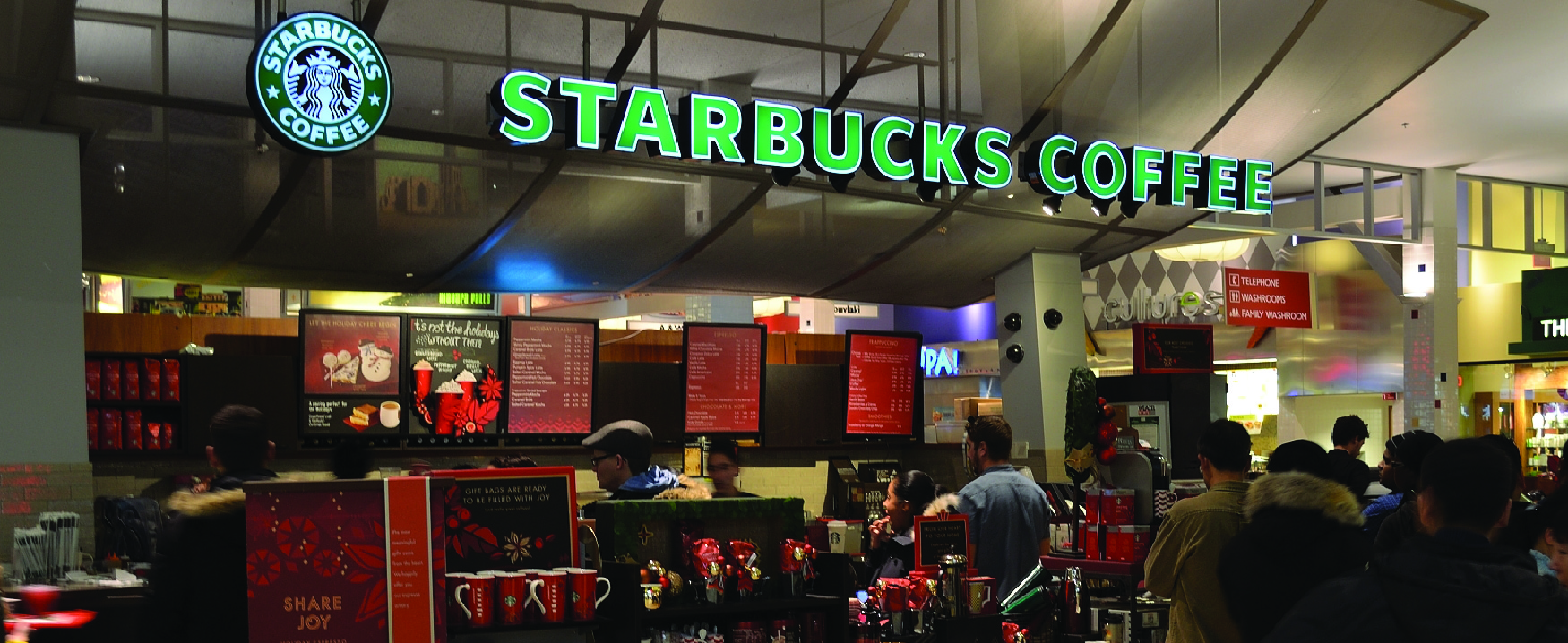 This image shows the inside of a Starbucks Coffee store.
