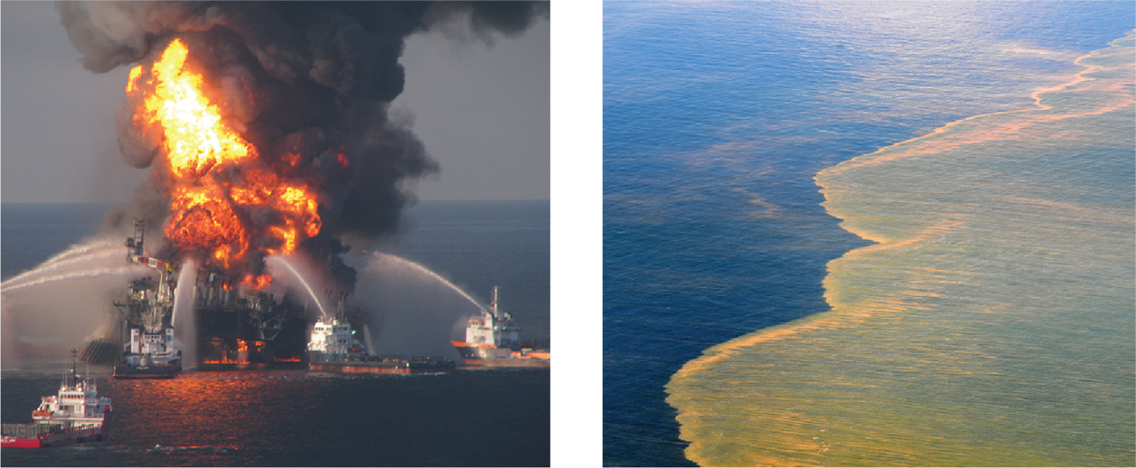 Left: The Deepwater Horizon oil rig on fire, surrounded with multiple ships spraying suppression materials. Right: Oil floating on the surface of water in the Gulf of Mexico.