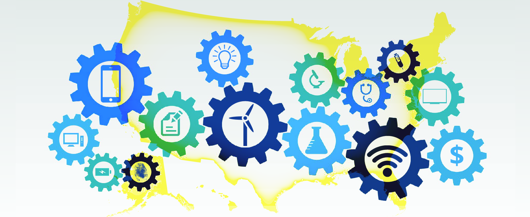 This graphic shows an outline of the United States overlaid with the simple outlines of different sized gears. In the center of the gears are simple icons, including a battery, a computer screen, a cell phone, a paper and pencil, a light bulb, a windmill, a beaker, a stethoscope, a wifi signal, a dollar sign, and a television screen.